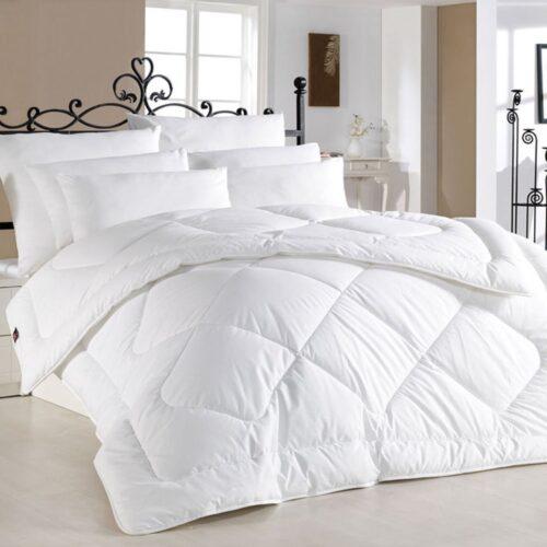 Pilota alba, matlasata cu 100% lana, Sleepy, 200x215 cm